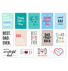Fathers day cards set vector