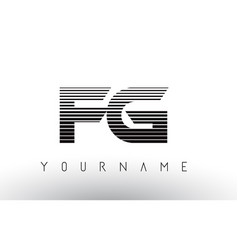 fg f g black and white horizontal stripes letter vector image