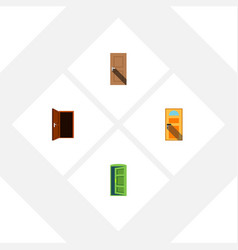 flat icon door set of approach frame exit and vector image