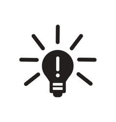 Flat icon in black and white lightbulb vector