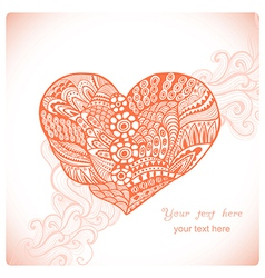 Floral heart Heart made of abstract ornamentDoodle vector