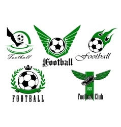 Football game icons or emblems set vector image