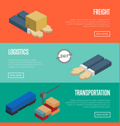 freight logistics and transportation banners set vector image