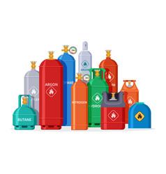 Gas cylinder group oxygen tanks bottles vector