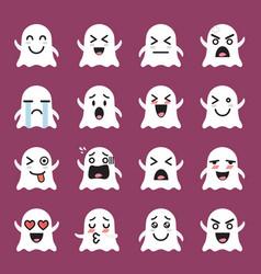 Ghost emoji emoticon set vector