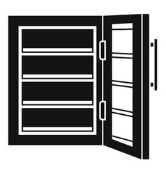 Glass door fridge icon simple style vector