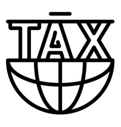 Global tax form icon outline style vector