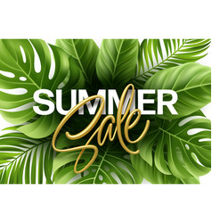 golden metallic summer sale lettering on a bright vector image