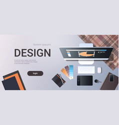graphic designer creative workplace design studio vector image
