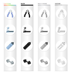 gym and training cartoon black monochrome outline vector image
