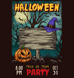 Halloween party vintage advertising poster vector