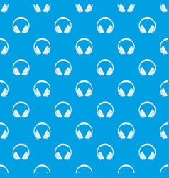 headphone pattern seamless blue vector image