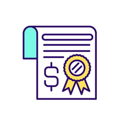 Inheritance certificate rgb color icon vector