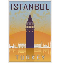 Istanbul vintage poster vector