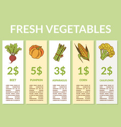 Labels with various vegetables and inscriptions vector