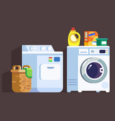 laundry washing machines and cleaners icon set vector image