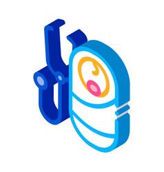 Listen to breath newborn baisometric icon vector