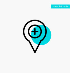 Location map navigation pin plus turquoise vector
