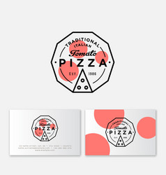 Logo pizza tomato simple linear pizzeria emblem vector