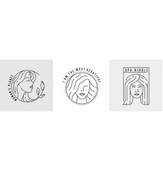 logo woman face line vector image