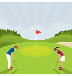 Man and Woman Playing Golf vector