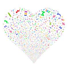 Math symbols fireworks heart vector