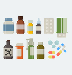 medicine and drugs icon set in flat style vector image
