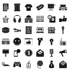 Merchandising icons set simple style vector
