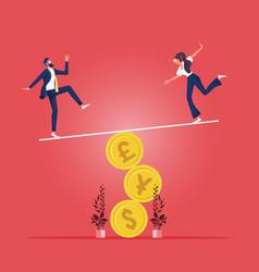 money balance concept-business people balancing vector image
