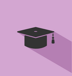 Mortarboard icon with shade on purple background vector