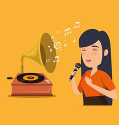 Musician woman in concert vector