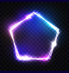 Neon pentagon frame on transparent background vector