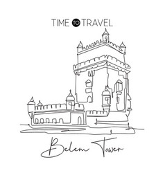 one single line drawing belem tower landmark vector image