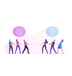 opposite groups businesspeople tug war vector image