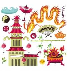 oriental set design elements vector image