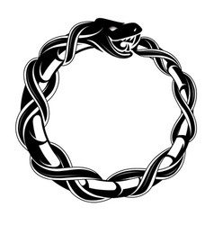 Ouroboros concept tattoo shape vector