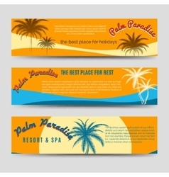 Palm paradise banners set vector