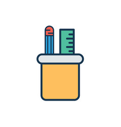 pencil holder flat icon sign symbol vector image