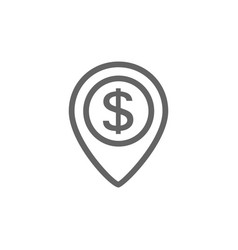 pin and dollar line icon combination vector image
