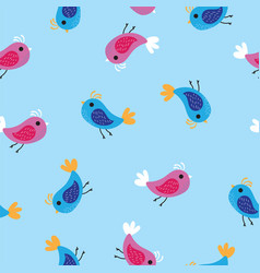 Pink and blue birds pattern background seamless vector