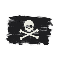 pirate flag in grunge brush vector image