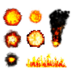 pixel boom retro game explosions set vector image