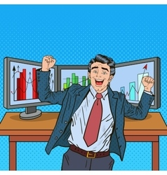 Pop Art Successful Businessman with Computers vector