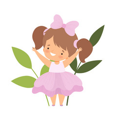 pretty little girl wearing pink flower costume vector image