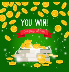 rain coins and sign you win vector image