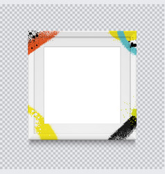 Realistic white square photo frame painted with vector