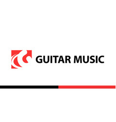 red logo for guitar shop school music vector image