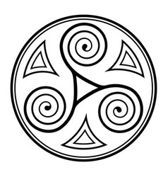 round spiral celtic triskel on white vector image