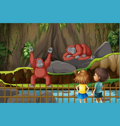Scene with kids and chimpanzees in zoo vector