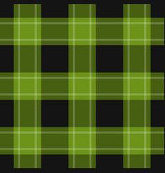 seamless black green tartan with white stripes vector image
